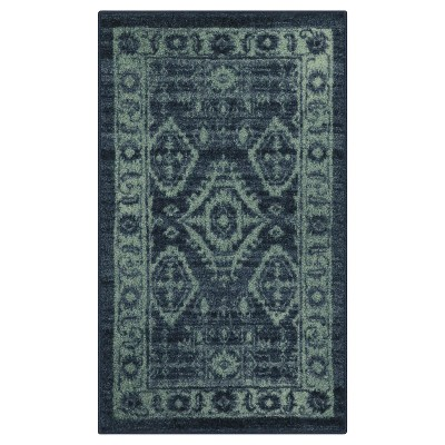 Navy Tribal Design Tufted Oval Accent Rug 1'8 X2'10  - Maples