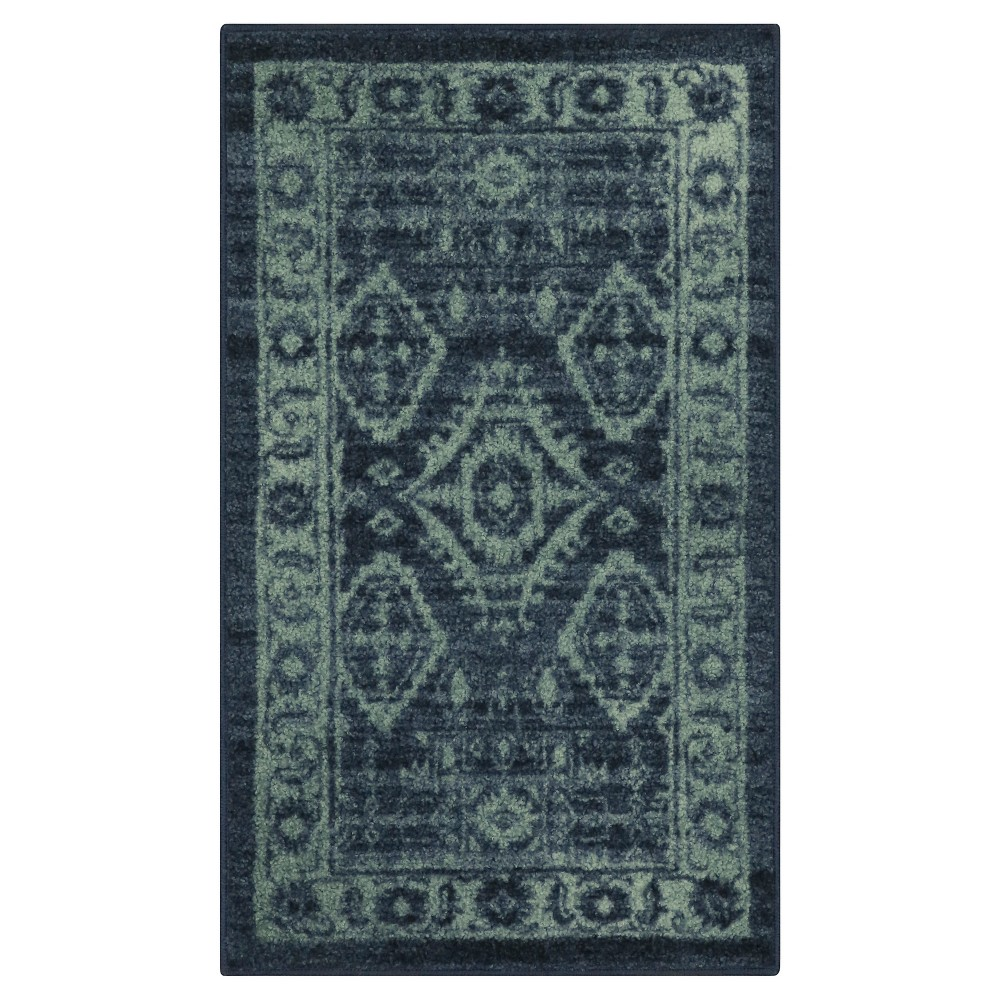 "Image of ""1'8""""X2'10"""" Tribal Design Tufted Oval Accent Rug Navy - Maples, Size: 1'8""""X2'10"""", Blue"""