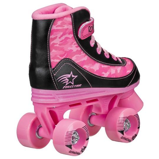 Roller Derby FireStar Youth Girl's Roller Skate - Pink Camo - J12, Girl's, Pink Black image number null