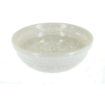 Blue Rose Polish Pottery White Lace Dessert Bowl