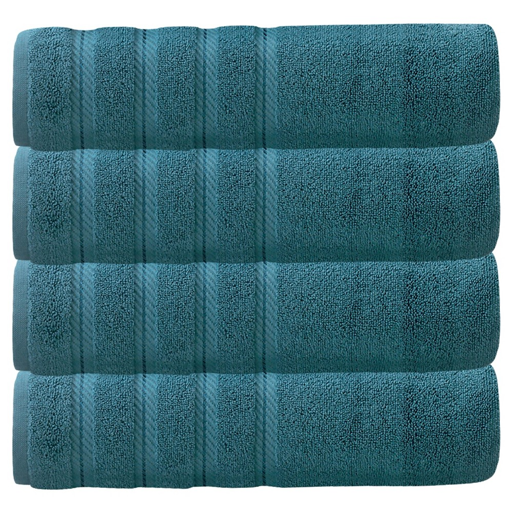 Image of 4pc Antalya Turkish Bath Towels Set Colonial Blue - Makroteks