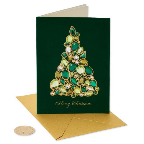 papyrus jeweled christmas tree greeting card target - Jeweled Christmas Trees