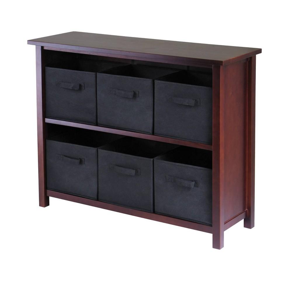 30 2 Shelf Verona Storage With 6 Baskets Walnut Black Winsome