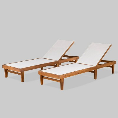 Summerland 2pk Wood and Mesh Chaise Lounge Teak/White - Christopher Knight Home