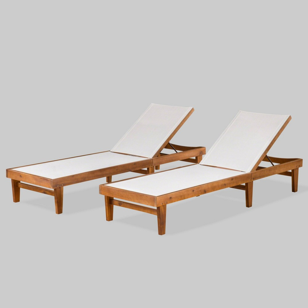 Summerland 2pk Wood and Mesh Chaise Lounge Teak (Brown)/White - Christopher Knight Home