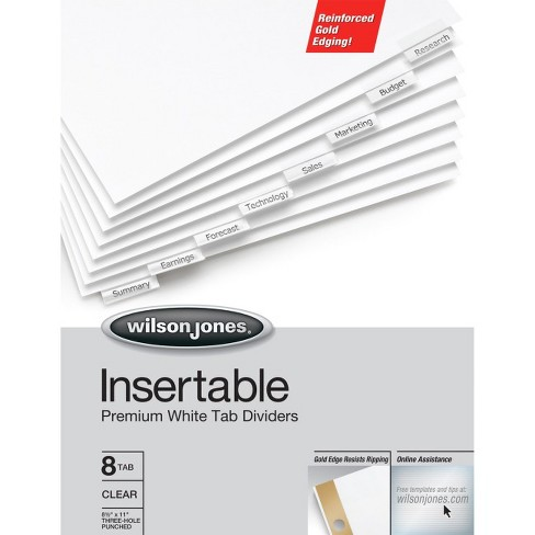 Wilson Jones Insertable Dividers - Gold Line, 8-Tab Set, Clear Tabs on White Paper - 8 / Set - White Divider - Clear Tab(s) - image 1 of 1