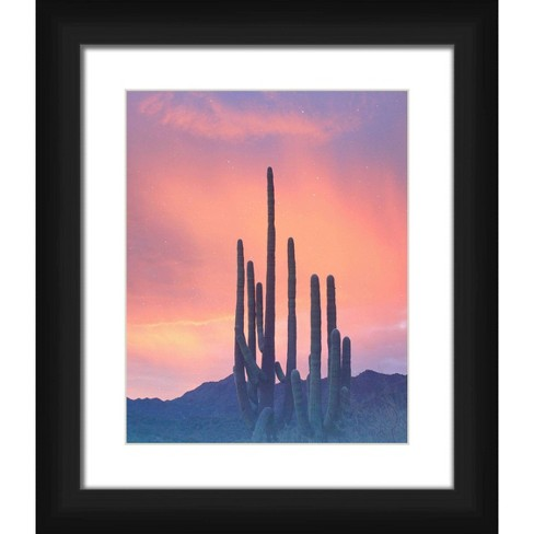"""15"""" x 13"""" Matted to 2"""" Sunset Cactus Picture Framed Black - PTM Images - image 1 of 4"""