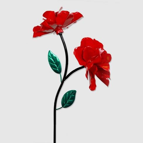 "40"" Metal Kinetic 2-Rose Garden Stake Red - Exhart - image 1 of 1"