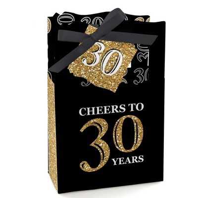 Big Dot of Happiness Adult 30th Birthday - Gold - Birthday Party Favor Boxes - Set of 12