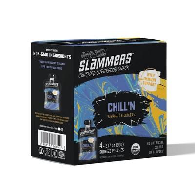 Organic Slammers Superfood Snack Chill'N Fruit, Veggie & Yogurt Filled Pouches 4pk - 3.17oz