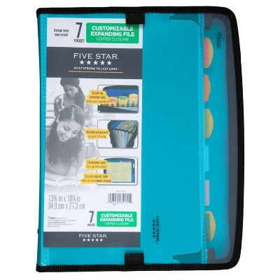Five Star 7 Pocket Expanding File Folder with Zipper (Color Will Vary)
