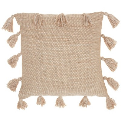"18""x18"" Life Styles Woven with Tassels Throw Pillow Beige - Mina Victory"