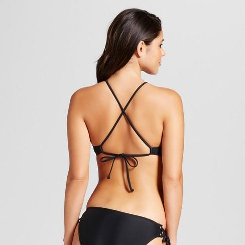 683a85aa96 Women s Lace-Up Bralette Bikini Top - Xhilaration™ Black M   Target