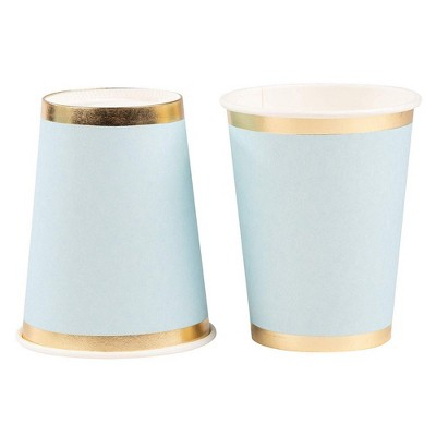 Juvale 50-Pack Light Blue with Gold Foil Disposable Paper Cups Party Supplies 9 oz