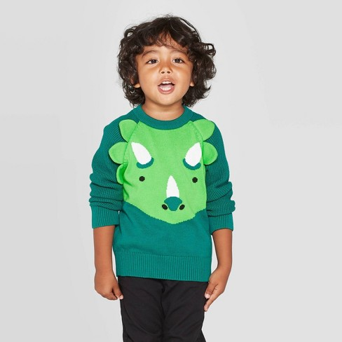 Toddler Boys' Dino Pullover Sweater - Cat & Jack™ Green 2T - image 1 of 3