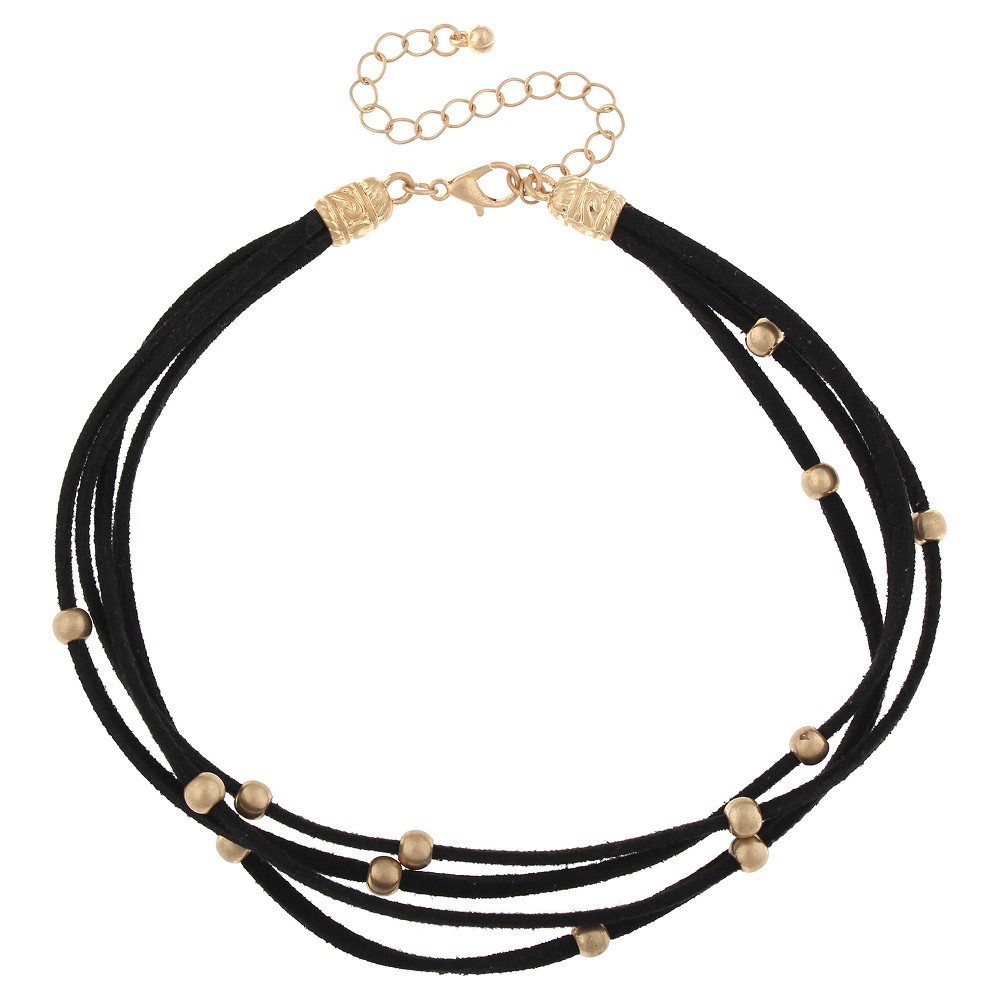 Women's Necklace Multi Row Suede Choker with Round Gold Beads - Black