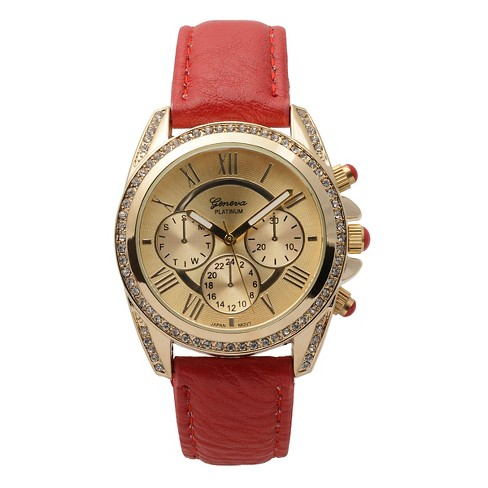 Women's Geneva Platinum Rhinestone Accent Round Face Simulated Leather Band Watch - Red - image 1 of 3