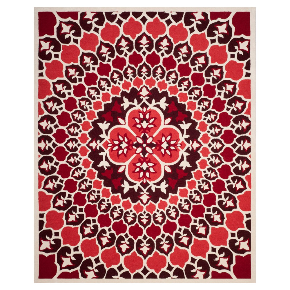 Red/Ivory Medallion Tufted Area Rug 8'X10' - Safavieh