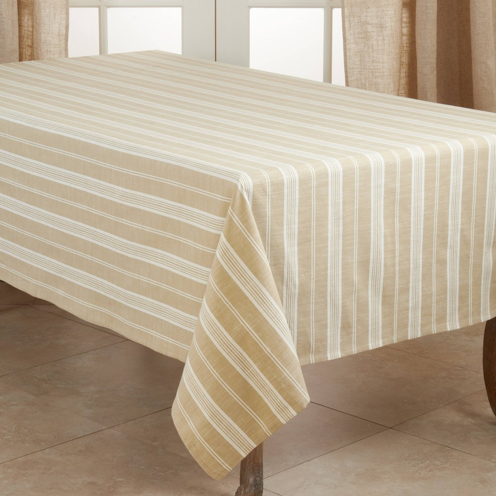 "Image of ""104"""" x 65"""" Cotton Striped Tablecloth Beige - Saro Lifestyle"""