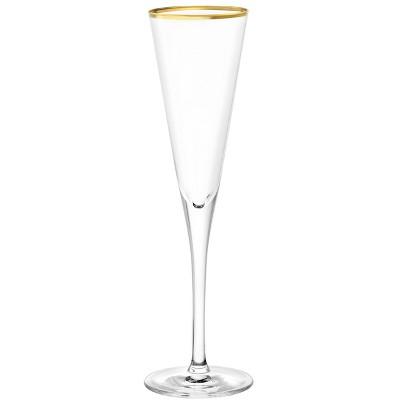 5.8oz 6pk Glass Champagne Trumpet with Gold Rim Drinkware Set - Stolzle Lausitz