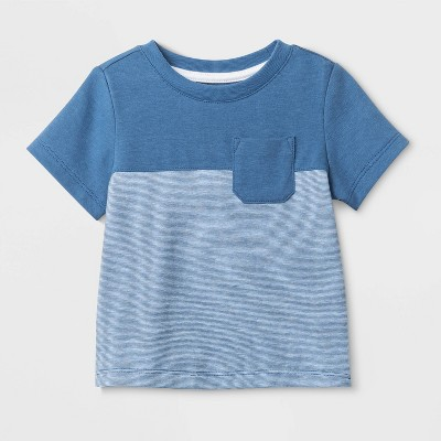 Baby Boys' Short Sleeve Color Block Pocket T-Shirt - Cat & Jack™ Blue 3-6M