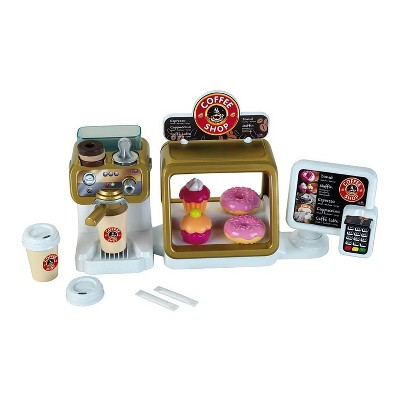 Theo Klein Toddler Kids Mini Toy Coffee Shop Store and Role Play Set for Boys and Girls with Play Food, Coffee Maker, and Kitchen Accessories