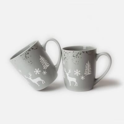 16oz 2pk Ceramic Reindeer Mugs Gray - Peppermint & Pine
