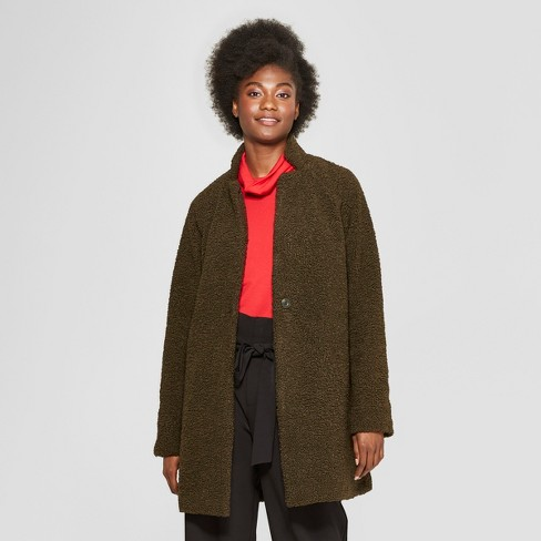 Women's Fashion Teddy Bear Coat - A New Day™ Olive - image 1 of 2