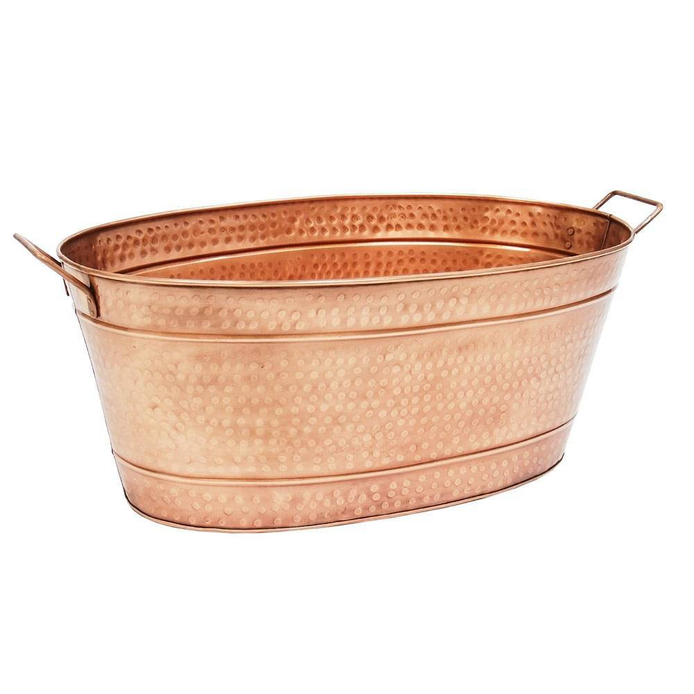 30 5 34 Large Oval Hammered Tub Copper Plated Achla Designs