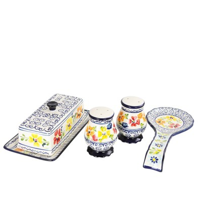 Gibson Home 4pc Stoneware Luxembourg Kitchen Accessory Set