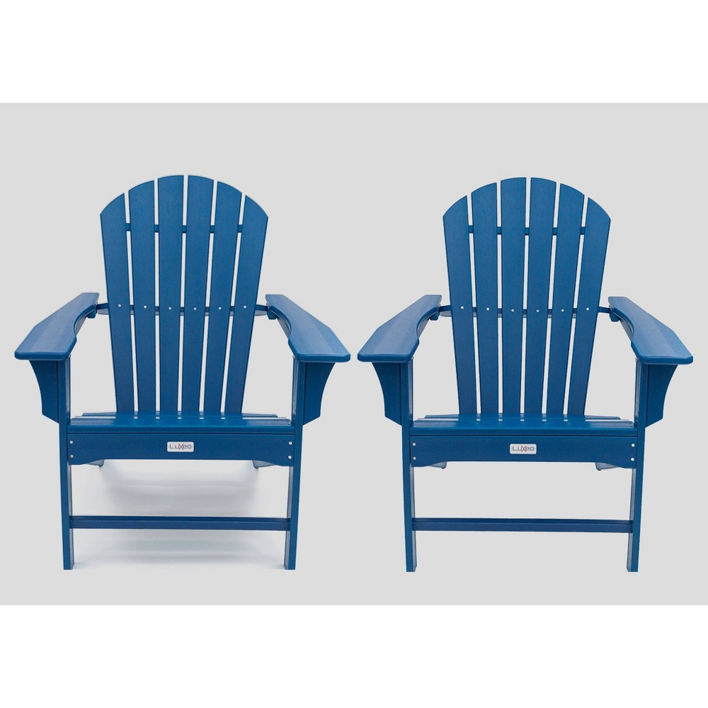 Image of Hampton 2pk Poly Outdoor Patio Adirondack Chair - Navy - LuXeo