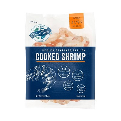 Blue Circle Peeled, Deveined, Tail-On Cooked Shrimp - 31/40ct per pound - Frozen - 16oz