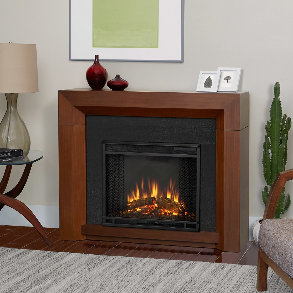 Real Flame - Hughes Decorative Fireplace - Vintage Black Maple