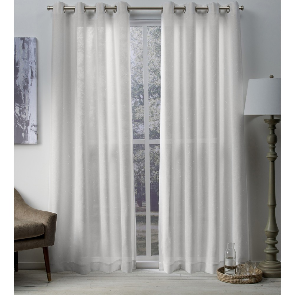 Sparkles Curtain Panels Winter White 54X84 - Exclusive Home