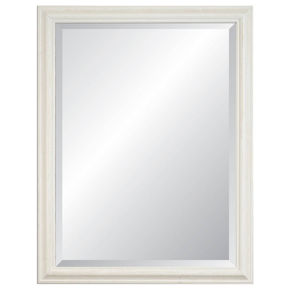 "Image of ""27"""" x 39"""" Savannah Brushed White Framed Beveled Glass Wall Mirror - Alpine Art and Mirror"""