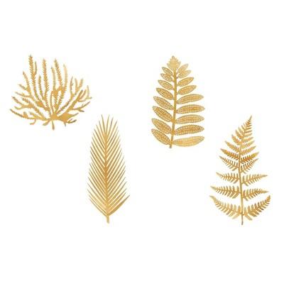 Set of 4 Styles Antique Brass Metal Fern Leaves Decorative Wall Art - 3R Studios