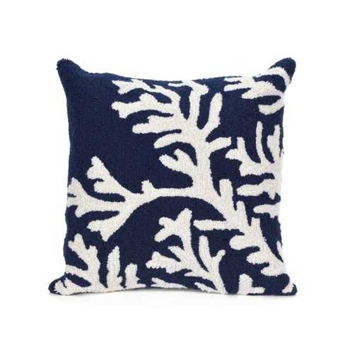 Visions Zebra Indoor/Outdoor Square Throw Pillow Navy - Liora Manne - image 1 of 3