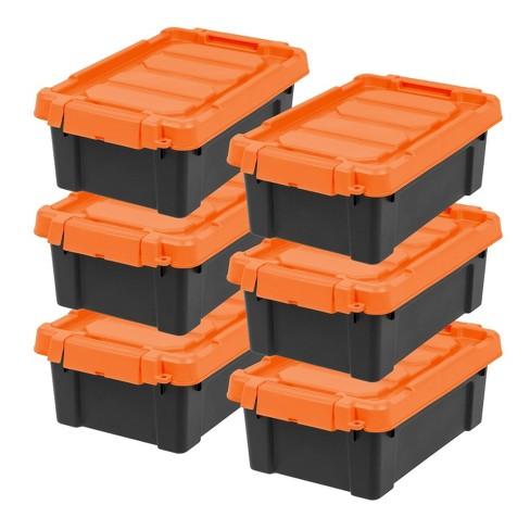 Iris 6pk 12qt Tote Black With Orange, Orange Plastic Storage Totes