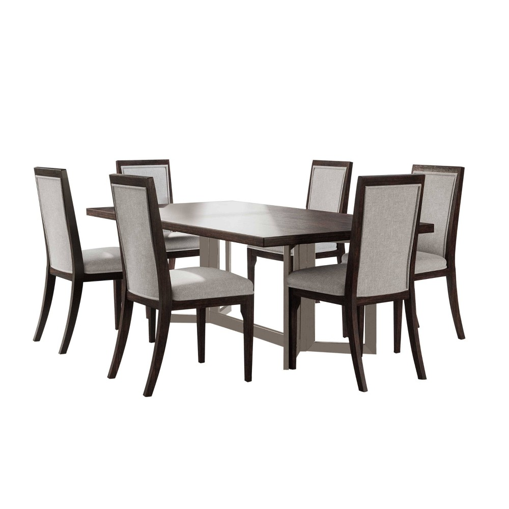 Image of 7Pc Cami Dining Set Brown - Abbyson Living