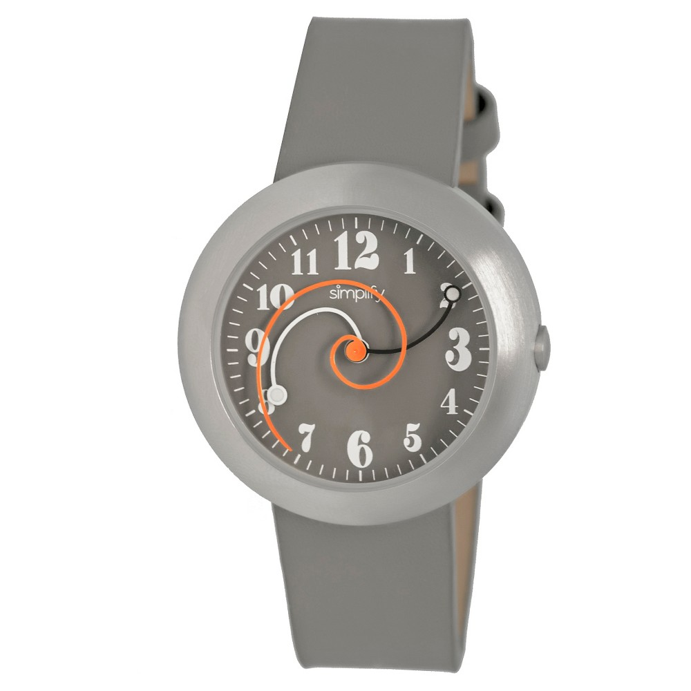 Simplify The 2700 Women's Spiral Hands Leather Strap Watch - Gray