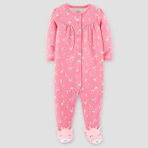 Baby Girls' Cotton Giraffe Sleep N' Play - Just One You® made by carter's Pink - image 1 of 1