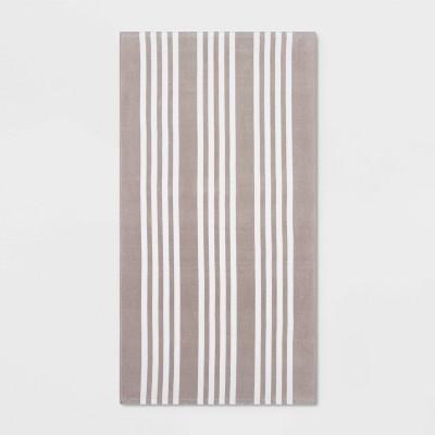 Basics Awning Stripe Beach Towel Gray - Sun Squad™