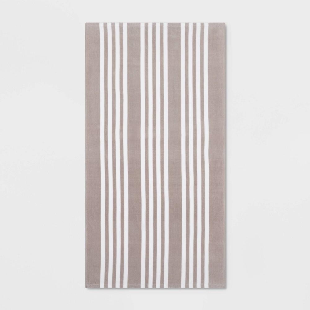 Image of Basics Awning Stripe Beach Towel Gray - Sun Squad