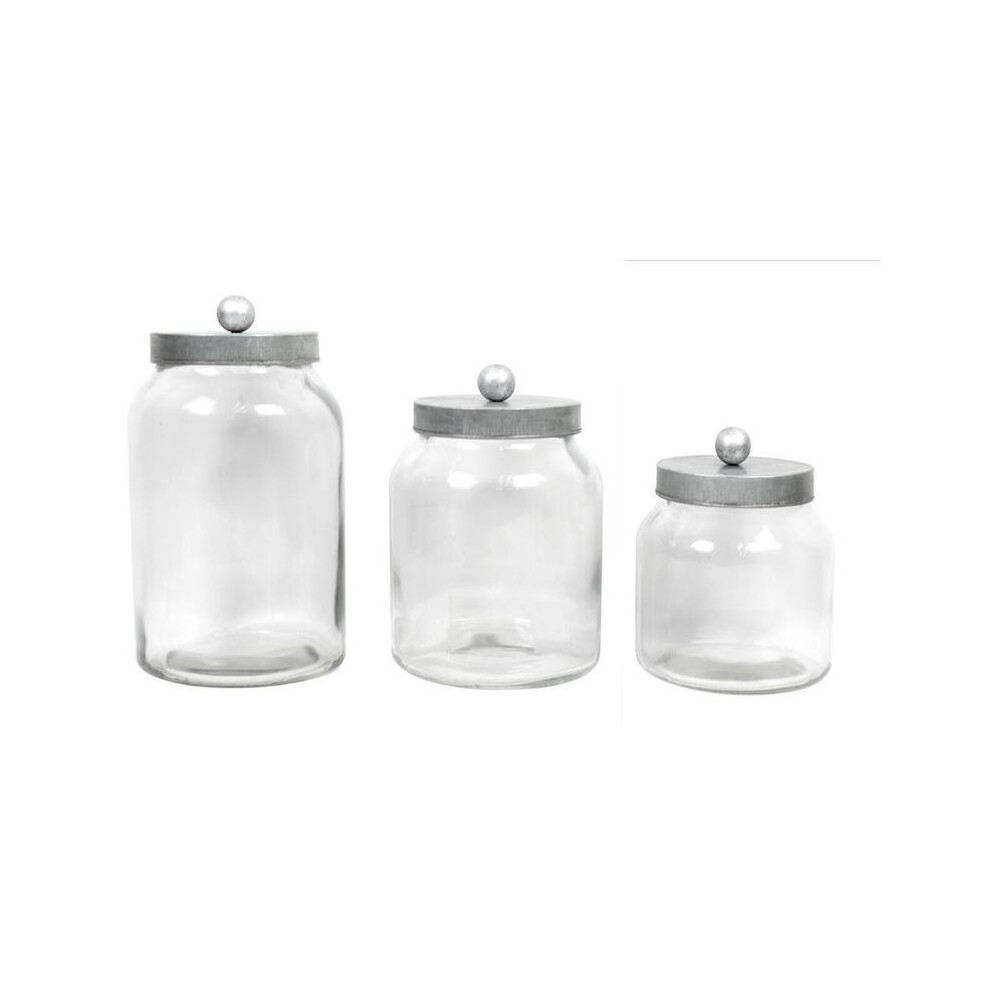 Image of Decorative Container Set of 3 Clear 128oz/64oz/48oz - Drew DeRose, Silver