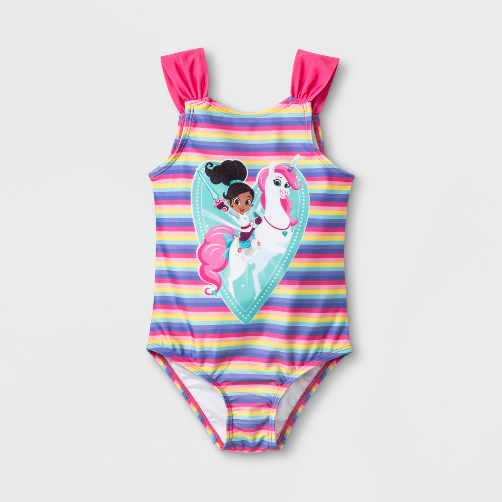 Toddler Girls' Nella the Princess Knight One Piece Swimsuit - Pink 4T