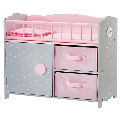 Olivia's Little World - Polka Dots Princess Baby Doll Crib with Cabinet and Cubby - image 1 of 6