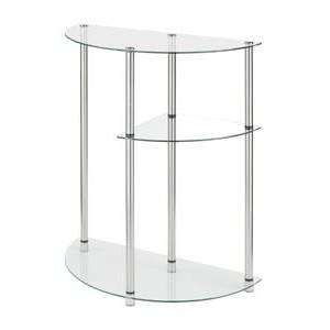 Classic Glass 3 Tier Display Entryway Table Clear Glass - Breighton Home