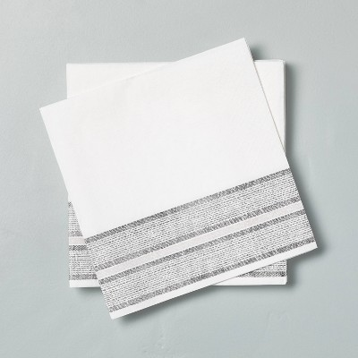 14ct Disposable Bold Stripes Lunch Napkin Gray/White - Hearth & Hand™ with Magnolia