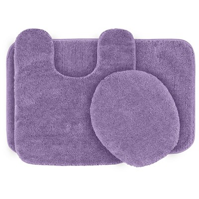 3pc Traditional Washable Nylon Bath Rug Set Purple - Garland