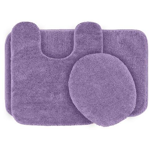 3pc Traditional Washable Nylon Bath Rug Set Purple Garland Target
